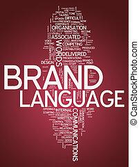 """낱말, 구름, """"brand, language"""""""