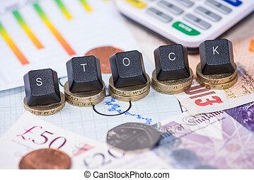 낱말, 그래프, 위의, 은 화폐로 주조한다, 재정, 주식