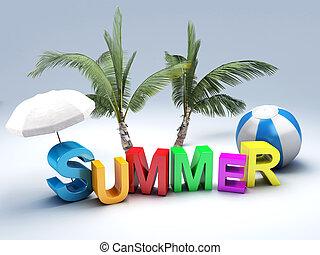 낱말, 여름, 와, 색채가 풍부한, 편지, 3차원, 삽화