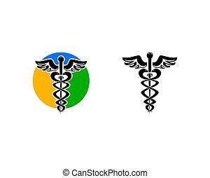 내과의, 로고, 표시, 세트, 헤르메스의 지팡이