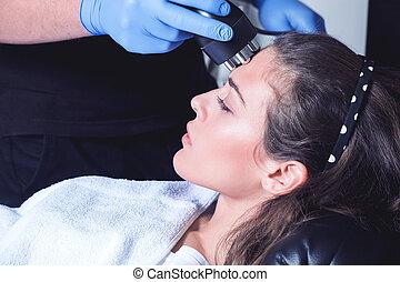 내과의, 여자, 치료, 센터, 얼굴