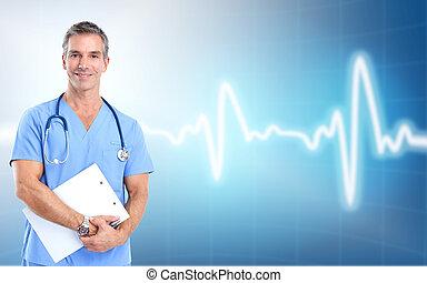내과의, cardiologist., 건강, care., 의사