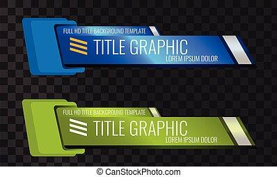 내려가다, 세트, 제 3 의, 표제, 표제, 또는, 비디오, 디자인, 유일한, 기치, template.