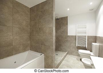 내부, 갈색의, 욕실, 벽, 대리석