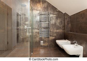 내부, 갈색의, 욕실