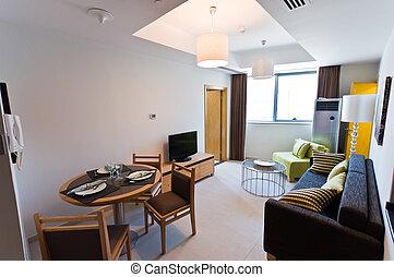내부, 의, 현대, 아파트, -, 작다, 호텔 따위의 사교실