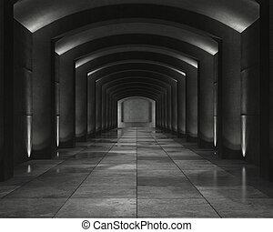 내부, 콘크리트, 둥근 천장