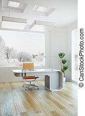 내부, 현대, 디자인, 사무실