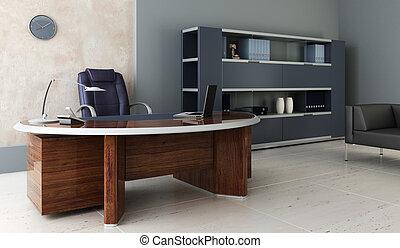 내부, 현대, 사무실