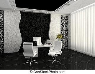 내부, 현대, 작업환경, 사무실