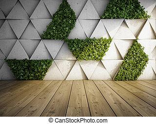 내부, 현대, 정원, 수직선
