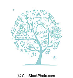 너의, 결혼식, 나무, 디자인, 개념