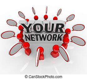 너의, 네트워크, 사람, 친구, 동료, 말하는 것, 에서, 원