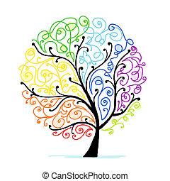 너의, 예술, 나무, 디자인