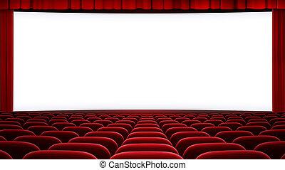 넓게, 영화관, 스크린, backgound, (aspect, 비율, 16:9)