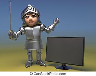 넓게, 텔레비전, 중세의, 기사, 스크린, 모니터 구실을 하다, 삽화, 구매, 새로운, 천박한, 3차원
