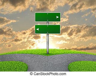 네거리, 도로 표지