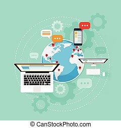 네트워크, 휴대용 퍼스널 컴퓨터, 연결, 컴퓨터, 인터넷, 장치, 구름