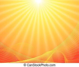 노란 배경, 벡터, 태양