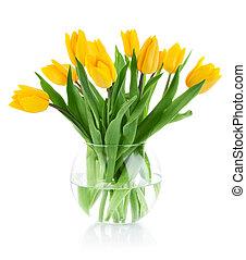 노란 튤립, 꽃, 에서, 유리 화병