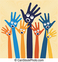 노래하는, 즐거운, hands., 사람