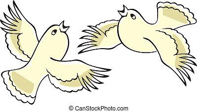 노래하는, birds.