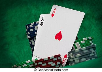 노름하는, 카드, 카지노, 개념