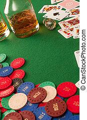 노름하는, 테이블, 와..., 포커 칩