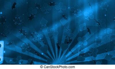 노름하는, 푸른 배경, 주사위, 카드, 옷, 와..., 포커 칩, 루핑, 생기
