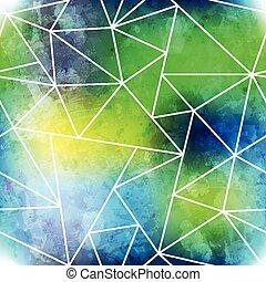 녹색의 삼각형, seamless, 패턴, 와, grunge, 효과