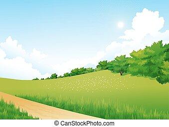녹색의 풍경, 와, 나무, 구름, 꽃