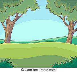 녹색의 풍경, 와, 나무, and.