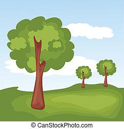 녹색의 풍경, 와, 나무