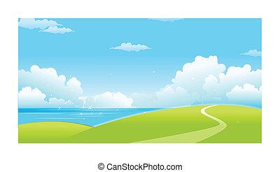 녹색의 풍경, 와, 바다