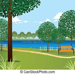 녹색의 풍경, 와, 호수