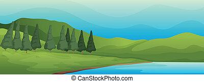 녹색의 풍경, 와..., 호수