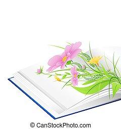 녹색, 꽃, 풀, 열린 책