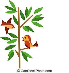 녹색 나무, 와, 2마리의 새