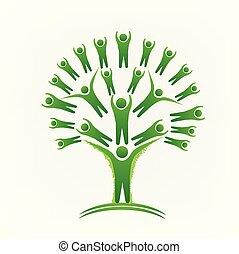 녹색 나무, 팀웍, 사람, 로고, 벡터, 심상