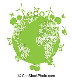 녹색, 날씬한, 지구
