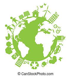 녹색, 날씬한, 환경