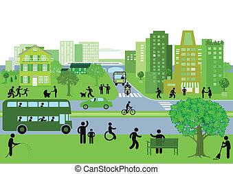 녹색, 도시