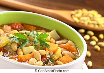 녹색, 부추, 만든, 콩, 제 3 의, 수프, 감자, 셀러리, 채식주의자, 초점, 카나리아, 하나, 정면,...