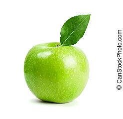 녹색 사과, 과일, 와, 잎