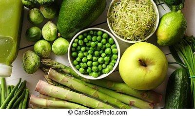 녹색, 산화방지제, 유기체의, 야채, 과일, 와..., 약초