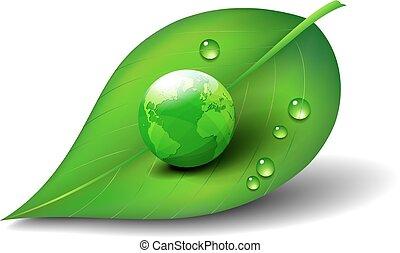 녹색, 상징, 아이콘, 잎, 지구