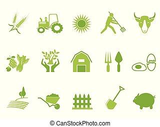 녹색, 색, 농장, 아이콘, 세트
