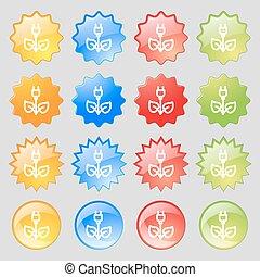 녹색, 에너지, 전기, 아이콘, 서명해라., 크게, 세트, 의, 16, 다채로운, 현대, 버튼, 치고는, 너의, design., 벡터