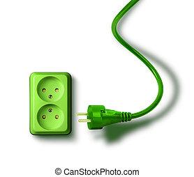 녹색, 에너지, 필요, 개념, 벽 소켓