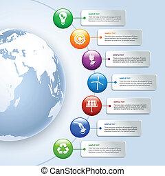 녹색, 에너지, infographics